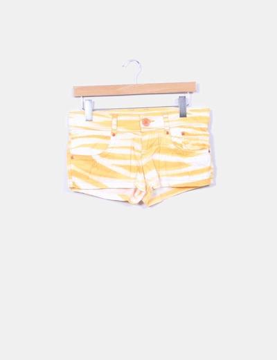 Short blanco y naranja Zara