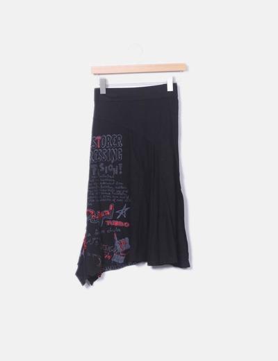 Falda midi negra lateral letras