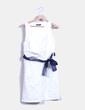 Vestido blanco texturizado con lazo azul marino Cerezas