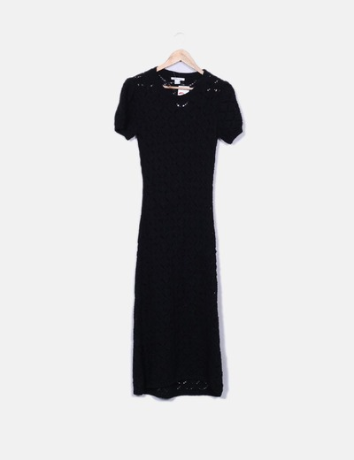 Vestido largo de punt negro
