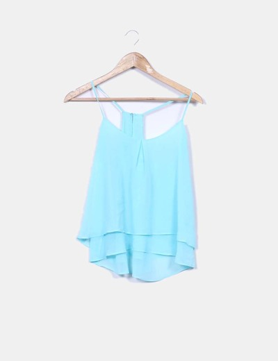 Blusa azul turquesa Bershka