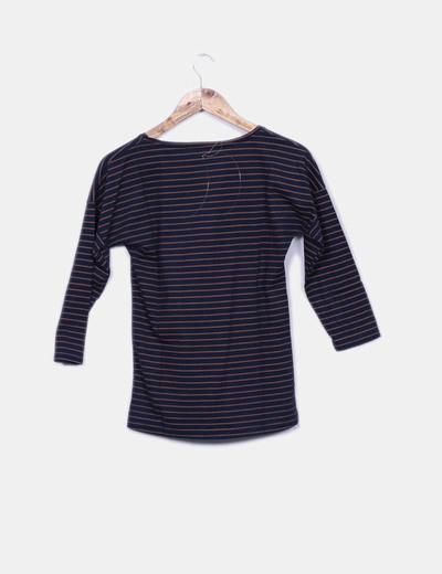 Camiseta azul y marron manga francesa