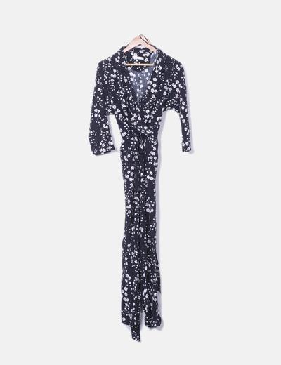 Schwarzer langer Overall mit Blumendruck Zara