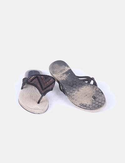 Sandalia de dedo efecto esparto detalle paliettes