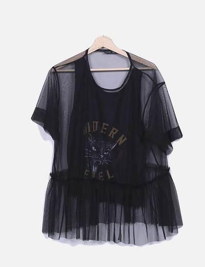 Camiseta semitransparente negra