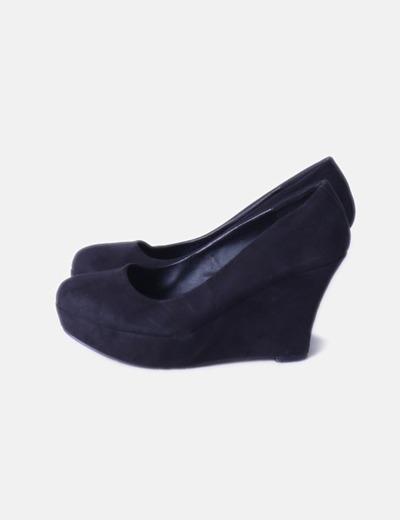 dfba1c6626cf Zapatos de cuña antelina negro
