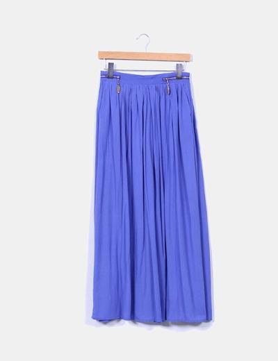 Maxi falda azul detalle cremalleras NoName