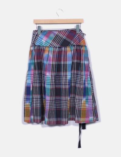 Falda midi de cuadros multicolor