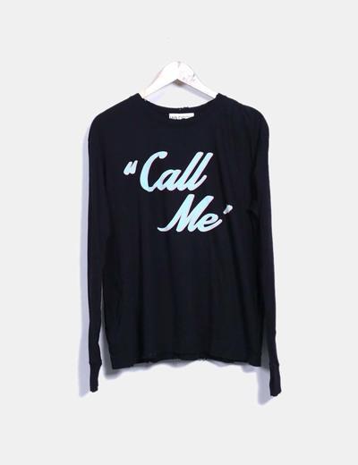 Top negro print 'Call me' Wildfox