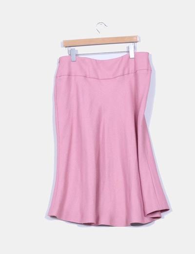 Falda rosa palo texturizada