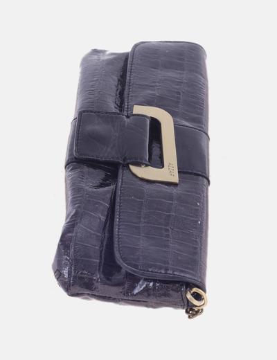 Bolso de mano negro acharolado