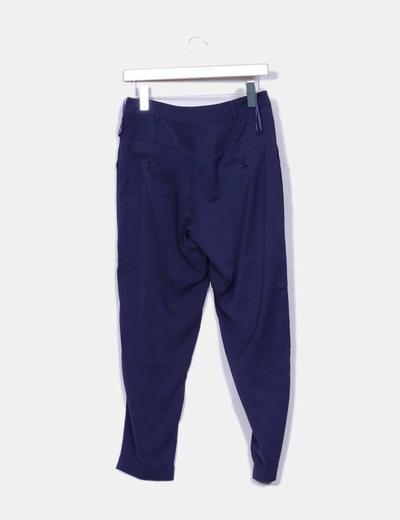 Pantalon azul satinado