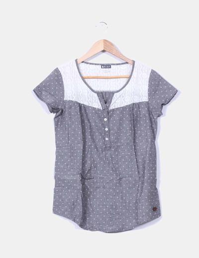 Camisa gris estampada crochet  Roxy