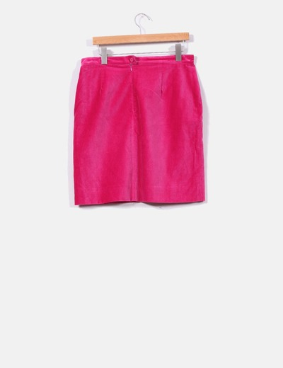 Falda de ante rosa fucsia
