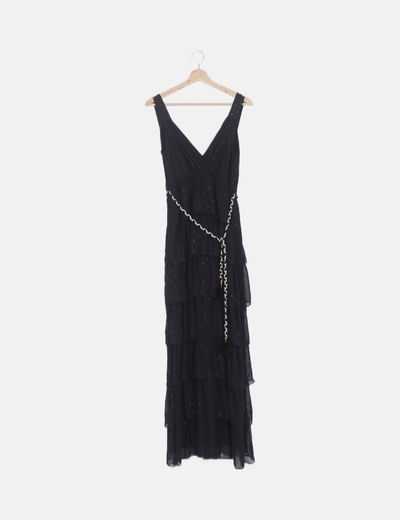 Vestido maxi volantes plumetti negros