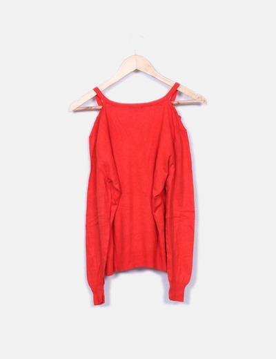 Sueter tricot rojo con aberturas