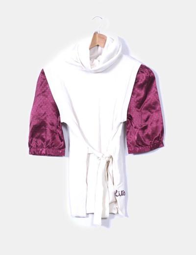 Nolita Weißer Pullover mit Kragen kombiniert mit Bluse innen (Rabatt ... 316c39a4d6