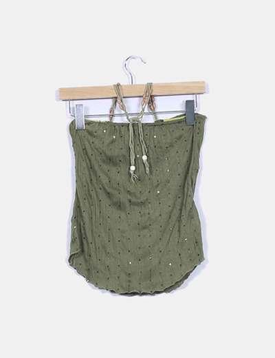 Top verde con palettes y lazada al cuello