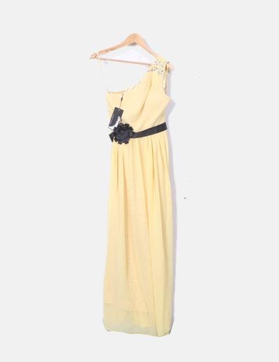 Vestido de fiesta amarillo asimétrico con pedrería