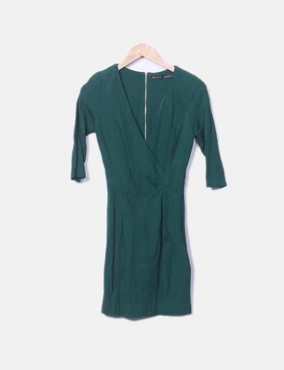 Vestido cruzado verde Zara