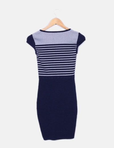Vestido azul y plateado