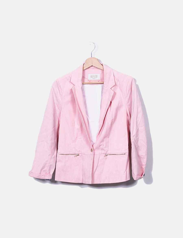 f3c57ecea3e Mujer Blazer cremalleras rosa Chaquetas de Abrigos jaspeada y con online  baratos Bershka OqzfpOw