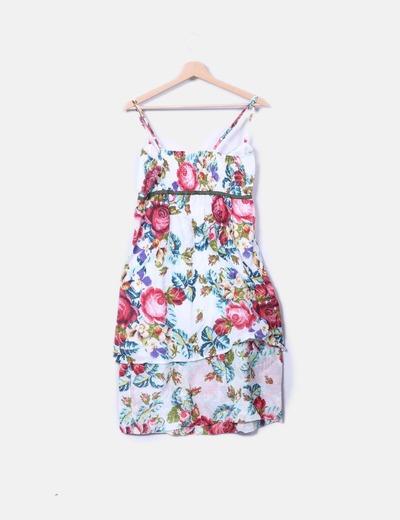 Vestido floral asimetrico de tirantes