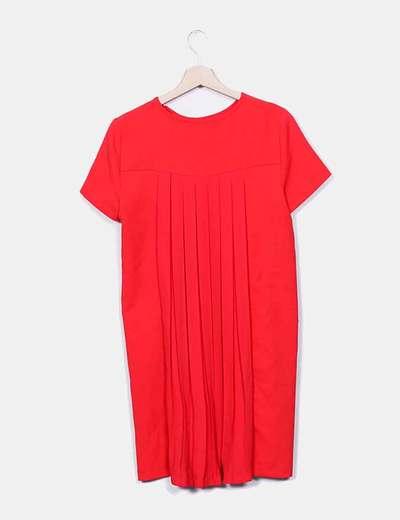 Vestido rojo detalle plisado