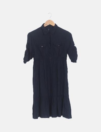 Vestido negro camisero detalle drapeado