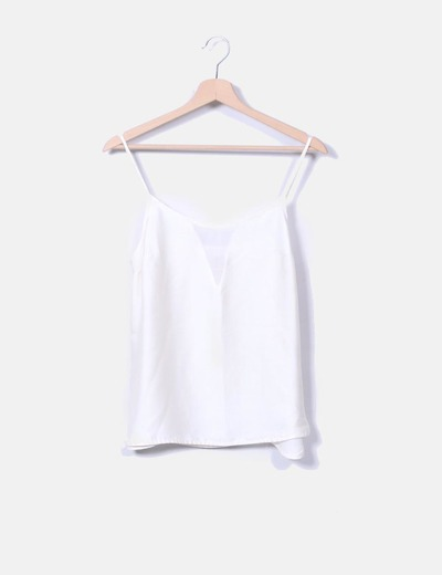 Blusa beige perlada de tirantes H&M