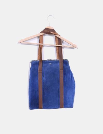Bolso shopper ante azul