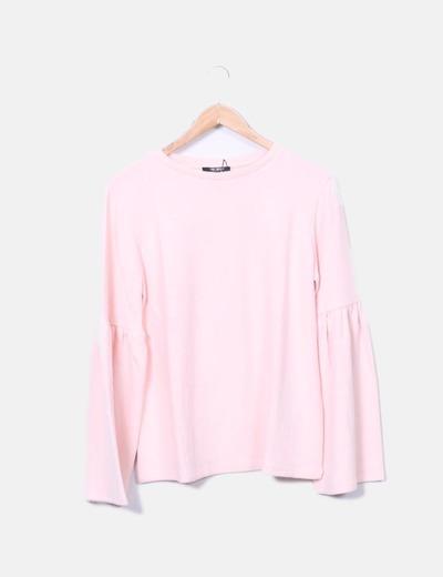 Jersey de punto rosa manga campana Zara