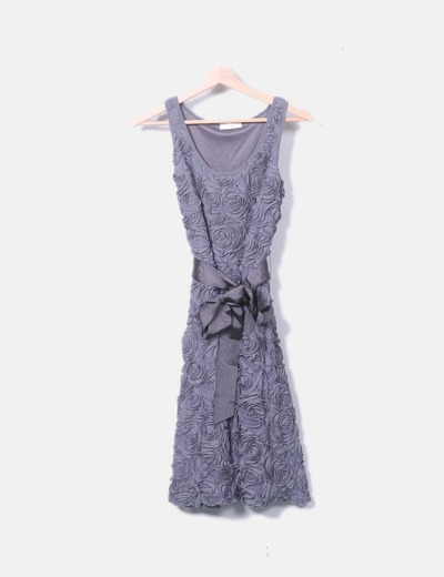 Vestido gris texturizado