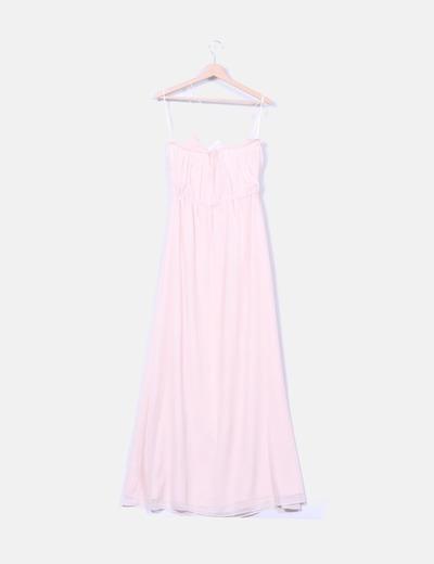 Vestido maxi gasa rosa baby