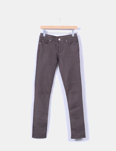 Pantalón verde oscuro skinny Zara