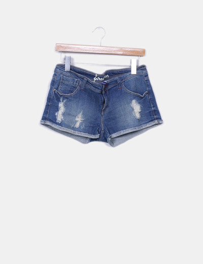 short denim ripped Stradivarius