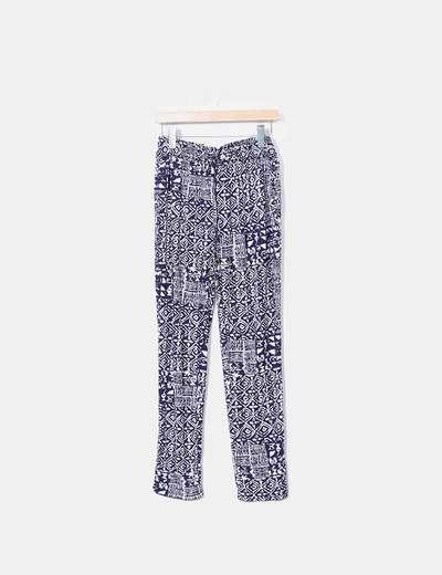 Pantalón baggy estampado azul marino