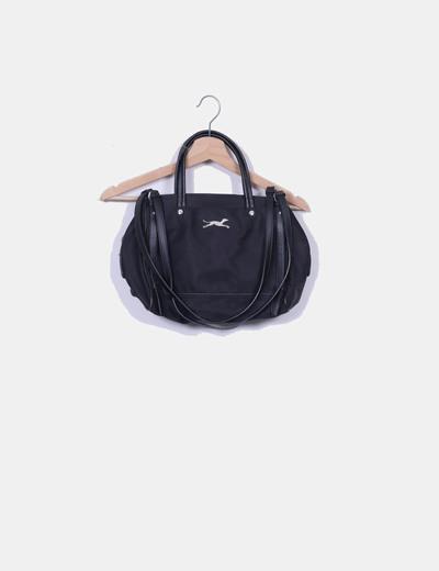 Bolso de hombro negro nylon