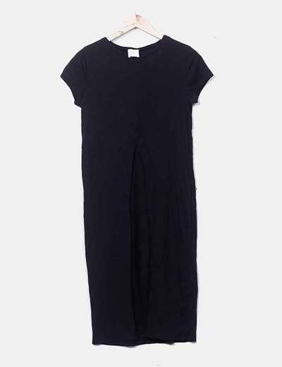 T-shirt noir avec une ouverture longue too white