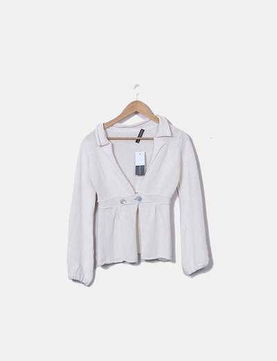 Maglione lavorato a maglia bianca con dettagli consumati PAQUITO