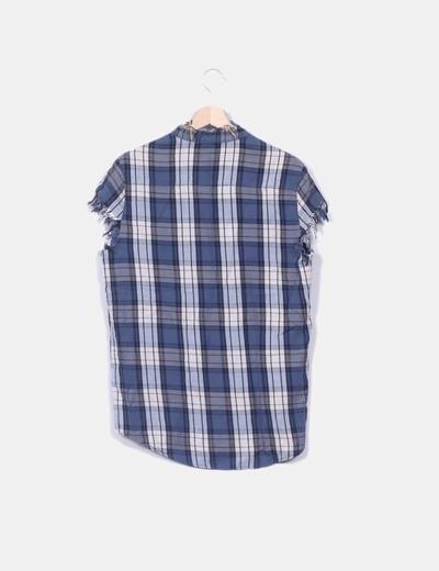 Camisa cuadros azul sin mangas