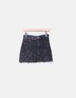 Falda denim ripped negra detalles metálicos Zara