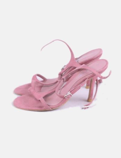 Sandalia rosa tacón