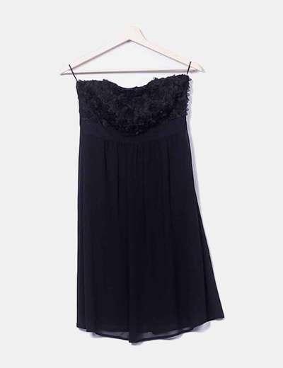 Vestido negro texturizado Esprit