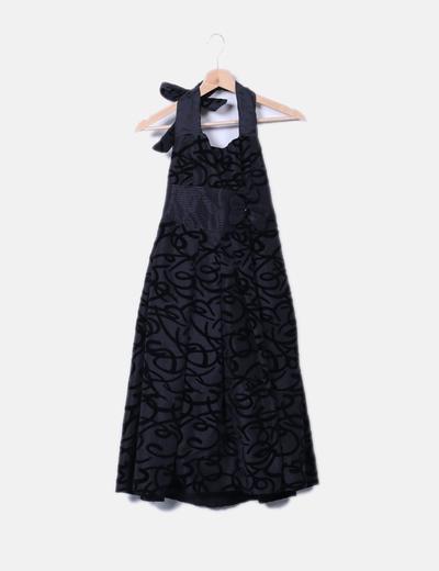 Vestido con vuelo gris bordado terciopelado Veneno en la Piel
