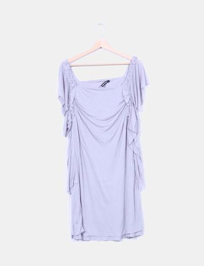 Vestido gris detalle volantes Filippa K