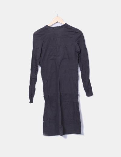 Vestido midi gris manga larga