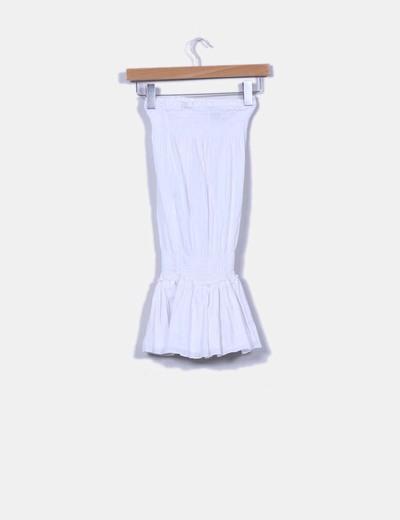 Blusa elastica blanca drapeada