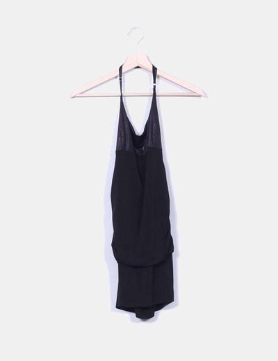 Vestido negro drapeado atado al cuello NoName