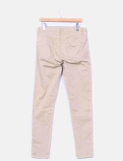 Pantalon elastico beige